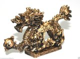 NEW Gold Chinese Feng Shui Dragon Figurine Statue for Luck & Success #S